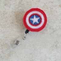 ID Badge Holder Retractable in Captain America, Fashionable Badge Reel, Ready to Ship, Nurse Badge Reel, Teacher Gift, Badge Accessory Comic