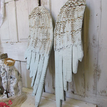 Large wooden wings soft pale blue rusty distressed wood carved wall sculpture home decor anita spero