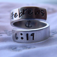 Hope anchors the soul hebrews 6 19 hand stamped aluminum spiral  ring