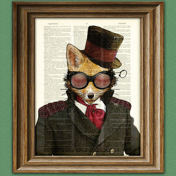 Steampunk Art Print Admiral Fox illustration beautifully upcycled dictionary page book art print