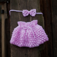 Pink Baby Skirt and Baby headband, Baby Girl Knitted Skirt and Baby headband, Baby Girl Knit Skirt, Toddler Skirt.