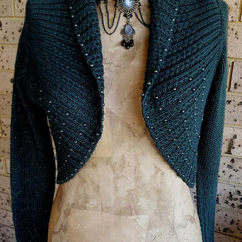 Dark Green Knitted Bolero Cardigan Shrug size Small 6-10