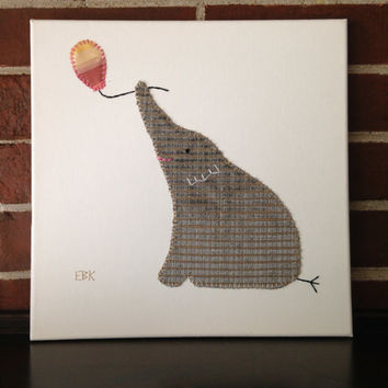 Elephant with Balloon #2 Fabric Wall Art