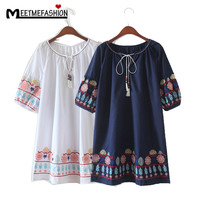 MEETMEFASHION Women Vintage Floral Embroidery Loose Country Style Dress Short Sleeve Casual Summer Dresses Female Vestidos