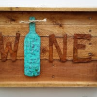 Wine Sign, Rustic, Handmade, Metal, Pallet Board, Reclaimed Wood, Home Decor, Kitchen, Wine Decor, Rustic Decor, Corks, Wall Art, Distressed