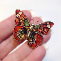 Butterfly Pin Orange Enameled Metallic Goldtone Brooch www.RinnovatoJewelry.etsy.com