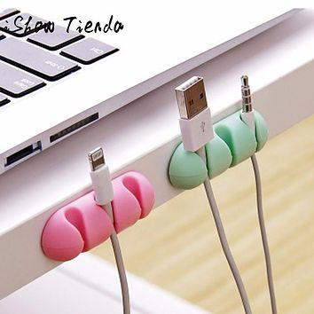 2 Pcs Headphone Headset Wire Wrap Cord Winder Organizer Cable Collector Silica Data Line Fixed Storage Folder