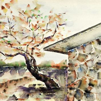 Modernist Rock House Landscape Watercolor Painting