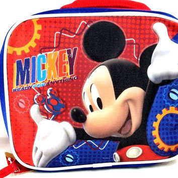 """New Disney Mickey Mouse """"Ready For Anything"""" School Insulated Lunch Bag"""