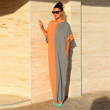 Womens Oversize Boho Style Casual Long Dress 2017 Summer Batwing Sleeve Color Block Party Beach Long Maxi Dresses Vestidos W02