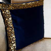 Throw Pillows - Navy Blue cushion with gold sequin boarder - sequin bead pillow - 16X16 - Navy blue pillow - gift pillow