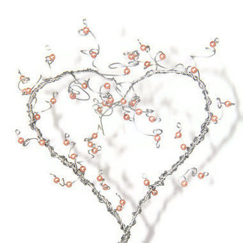 Heart Tree Sculpture Beaded Wire Art by NouveauTique on Etsy