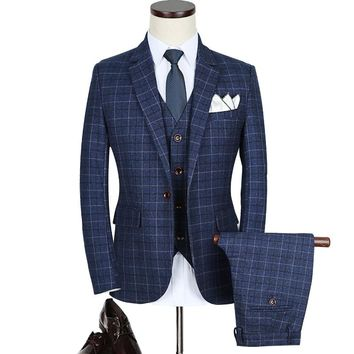 High quality men's Brand Slim suits Teen Wedding Dress Formal wear clothes male Business Casual Suits jacket+vest+pants Size 5XL