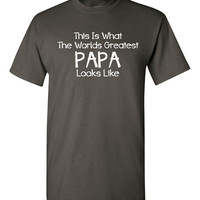 This is what the worlds greatest papa looks like novelty tee great gift idea and hot seller!