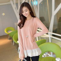 Lace Hem Long-Sleeved Top