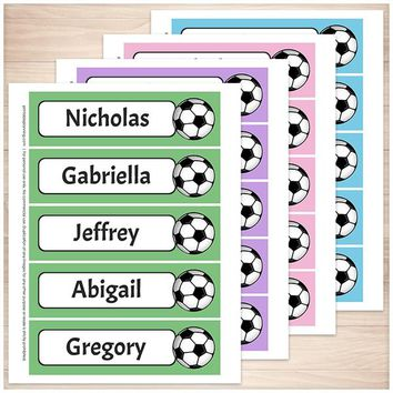 Personalized Soccer Green Purple Pink and Blue Bookmarks - Printable