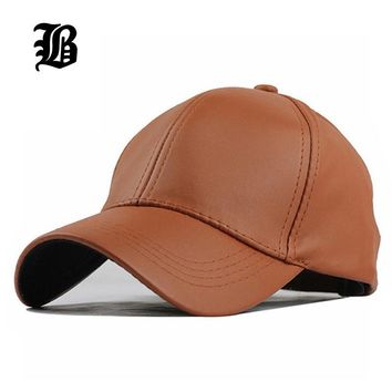 Trendy Winter Jacket [FLB]  New Winter PU Leather Caps Baseball Cap Biker Trucker casquette Snapback Hats For Men Women Hats And Caps F238 AT_92_12