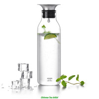 900 ml Supreme Quality Borosilicate Glass Water Bottle with Food Grade Stainless Steel Filter Lid for Hot and Ice Water