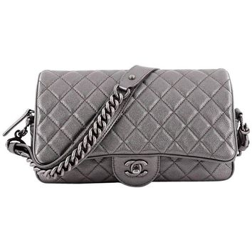 Chanel Airlines Chain Handle Flap Bag Quilted Goatskin Small