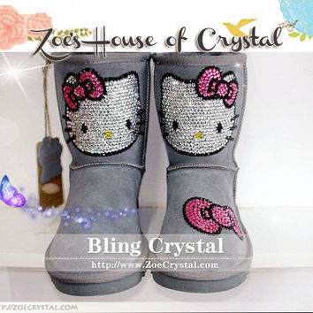 WINTER Sheepskin Shearling Boots with stylish Crystals HELLO KITTY