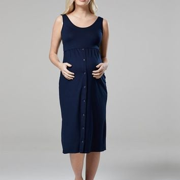 Navy Nights Labor & Nursing Gown
