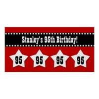 95th Birthday Red Black White Stars Banner V95S Poster