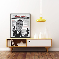 JAMES BOND - 007 - Unique How to Mix a Vesper MARTINI. Sean Connery Pop Art Poster. Limited Edition Print