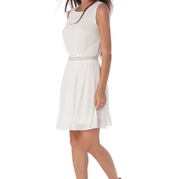 WHITE CHIFFON SKATER DRESS WITH EMBELLISHED WAIST
