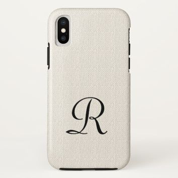 Faux Burlap Rustic Monogram iPhone X Tough Case