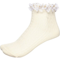 River Island Womens Cream frill trim lurex ankle socks