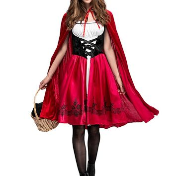 Adult Women Halloween Costume Little Red Riding Hooded Robe Lady Cosplay Embroidery Dress Suits Cloak Outfit For Girls Plus Size