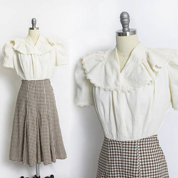 Vintage 1930s Dress - Gingham Cotton Brown Ecru Ruffle Day Dress 30s - Small