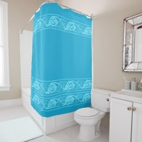 Celtic Knotwork Fish in Blue Shower Curtain