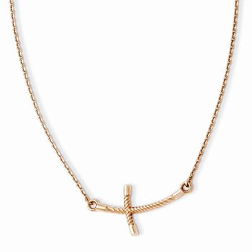 14k Rose Gold Large Sideways Curved Twist Cross Necklace