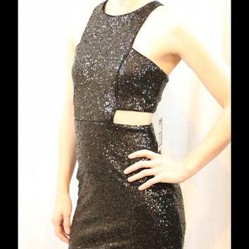 EXPRESS Black Sequin Cutout Bodycon Dress XS