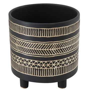 Black Geometric Ceramic Planter Footed Pot