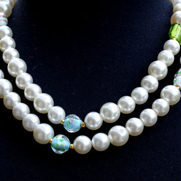Pearl and murano bead necklace, long pearl necklace, double row pearl necklace, jewelry, womens gift