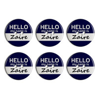 Zaire Hello My Name Is Plastic Resin Button Set of 6
