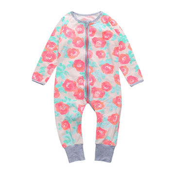 Bear Leader Baby Girls Rompers Flower Pattern Long Sleeve Newborn Jumpsuits Autumn/Winter Baby Clothes Suits Zip Infant Clothing NB Girls