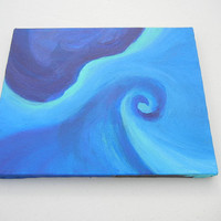 OOAK Abstract Acrylic Painting, Into the Blue 8x10 Canvas