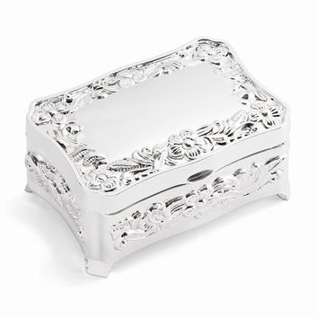 Polished Silver-plated Floral Jewelry Box - Engravable Personalized Gift Item