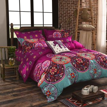 Luxury Bohemian bedding set 4pcs  king/queen/full size cotton vintage bedding sets bedspread sheets bed  luxury home textile