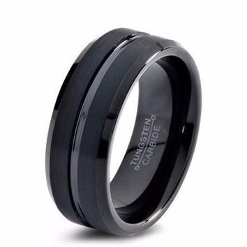 Black Wedding Band Tungsten Carbide 8mm Brushed Black Tungsten Ring Mens Wedding Ring Female Male Matching Set His Hers Black Ring Scratch Proof