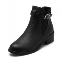 Ladies Womens Wide Calf Ankle Boots Big Plus Size 33-43 Shoes Woman Spring Autumn Heels Stock Leather Womens Boots