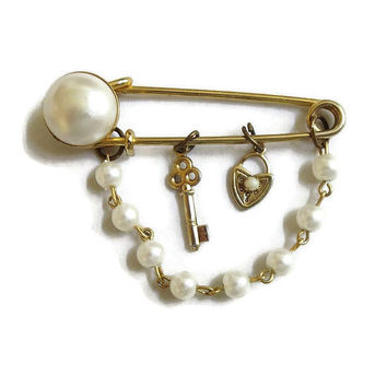 Vintage Safety Pin Brooch with Faux Pearls & Lock and Key Dangles