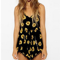 Sunflower Print Tasseled Romper