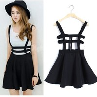 2015 spring summer women new Fashion Fan Harajuku style hollow stripes wild strap dress casual dress bottomin A-line Sundresses