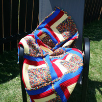 Crochet Multi Colored Blue, Red, and Yellow Baby Toddler Afghan Blanket