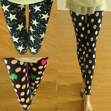 ESBON Autumn Spring  yards elastic wave point color star graffiti alphabet personality stripe Skinny Leggings women