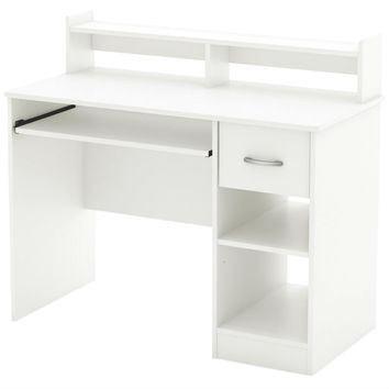 Modern Computer Desk with Keyboard Tray in White Finish